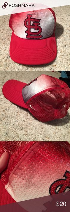 Sequin St. Louis Cardinals Hat Snap back trucker hat - sequened - worn once Nike Accessories Hats