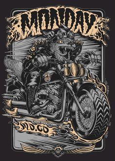 Print design for motorcycle clothing company Monday Mo. Dark Artwork, Metal Artwork, Character Illustration, Illustration Art, Harley Davidson Images, Pop Art Decor, Cars Coloring Pages, Japanese Artwork, Shirt Print Design