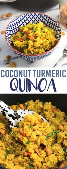 Coconut turmeric quinoa is a flavorful and healthy side dish recipe, made with creamy coconut milk and broth and mixed with cashews and fresh herbs.