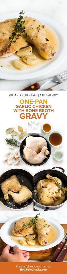Top juicy, garlicky chicken thighs with a delicious bone broth gravy that's full of gut-healing goodness and flavor. Broth Gravy Recipe, Paleo Gravy, Paleo Chicken Recipes, Paleo Recipes, Turkey Recipes, Bone Broth, Garlic Chicken, Yum Yum Chicken, Whole 30 Recipes