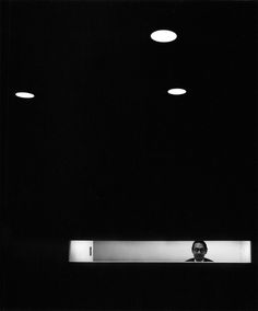 "Arnold Newman (1918–2006), American photographer noted for  ""environmental portraits"" of artists and politicians where he placed the subjects in a controlled setting to capture their life, personality and work. He was also known for carefully composed abstract still lifes.  I.M. Pei, New York, NY, 1967"