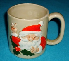 Vintage Otagiri Handpainted Christmas Santa Peace Sign Mug Cup Holly Berry RARE | eBay