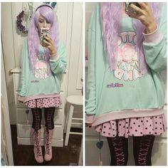 Sweater: @milklim Skirt: milklim Tights and boots: ebay  #milklim…