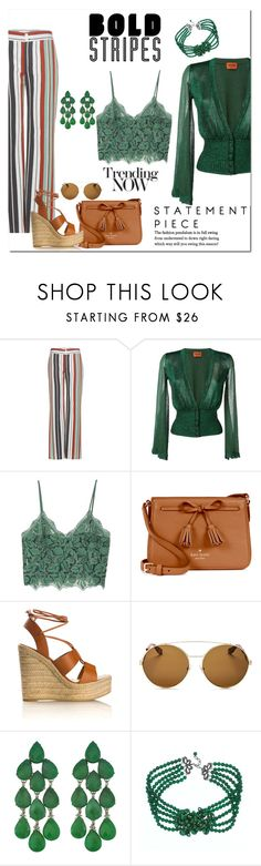 """""""Bold Stripe Trouser Pants"""" by victorianheaven ❤ liked on Polyvore featuring Chloé, Missoni, MANGO, Kate Spade, Yves Saint Laurent, Givenchy, Siman Tu, stripes and stripedpants"""