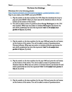 Hello civics teachers!This assignment is a webquest activity that can be used to go through the seven roles of the U.S. president. I will say that this product was made for students with lower cognitive abilities in order to practice their knowledge and understanding of the presidential roles.