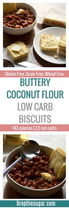 Buttery Coconut Flour Low Carb Biscuits | a simple low carb bread recipe to make a gluten free biscuit. Makes a great side to complement a low carb soup. Pin now to make later!