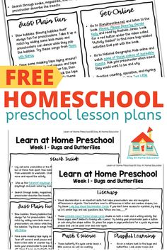 Free Homeschool Preschool Lesson Plans - Stay At Home Educator