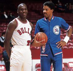 Michael Jordan and Julius Erving talk before a Nov. 1984 Bulls-76ers game. Jordan scored 16 points with seven assists and five rebounds in a 109-100 loss. (Manny Millan/SI)  GALLERY: Classic Photos of Michael Jordan | Julius Erving