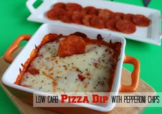 Low Carb Pizza Dip with Pepperoni Chips