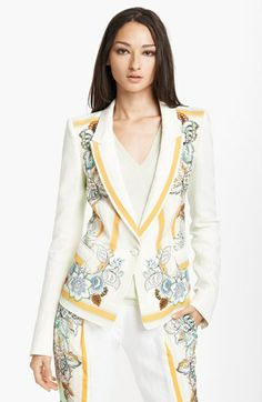 Roberto Cavalli Print Panel Linen Blazer available at #Nordstrom