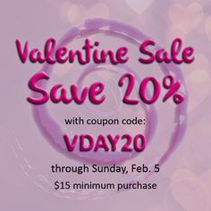 SAVE 20% in the name of love!  Now through Sunday, Feb. 5 - use coupon code VDAY20  Jewelry including -  •Garnet •Amethyst •Pearl •Onyx •Quartz •Retro-mod - Peace sign earrings & mood bead bracelet •Men's bracelets - Pint of Stout, onyx, wood & more!