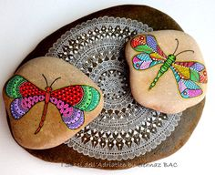 I spent my day painting some new dragonflies since the first samples all fly away :) #paintedstones