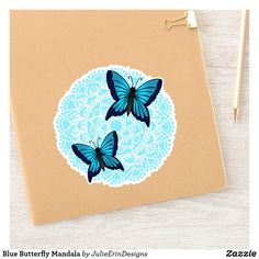 Butterfly Mandala, Blue Butterfly, Cute Laptop Stickers, Funny Stickers, Can Design, Design Your Own, Decorated Water Bottles, Vinyl Sheets, Personalized Stickers