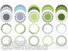 green round frame clip art set mix and match by ArigigiPixel, Green and Gray Color Challenge