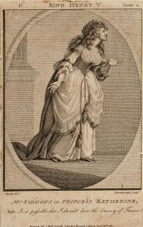 """Sarah Siddons as Katherine from Shakespeare's Henry V, 1785 Thornthwaite (18th Century British School) after Burney Engraving laid down on a supporting sheet In a cream, conservation grade mount (matt) Some grubbiness to the sheet edges otherwise in good condition, as illustrated Engraving: 11.4 x 7 cm (visible); mount: 25.4 x 20.4 cm (10"""" x 8"""") Visit our Frames page to view and select a frame for this work"""
