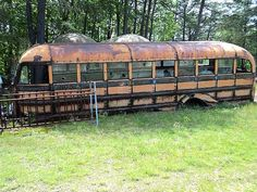 Old rusty school bus.