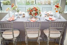 Modern Nautical Coral and Gray Wedding Inspiration. Florals by L'Oasis Floral Design. Linens from Nuage Designs. Photo by Cyrience Photography, www.cyrience.com