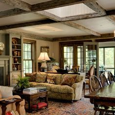 Traditional Family Room Country House Design, Pictures, Remodel, Decor and Ideas English Cottage Interiors, English Cottage Style, English Country Decor, French Country, English Cottages, English Style, Modern Country, Cottage Living, Home And Living
