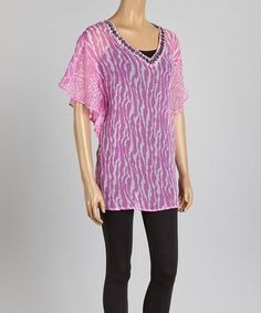 This Pink Animal Embellished V-Neck Tunic - Women & Plus is perfect! #zulilyfinds