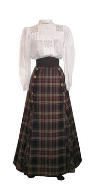Front view of Edwardian walking skirt.  Made of 5 panels with 5 knife pleats at each side of the front.  Closure is located at the side front.