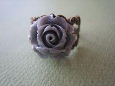 Petite Gray Rose Flower Ring  Adjustable Antique Brass by ZARDENIA, $9.00
