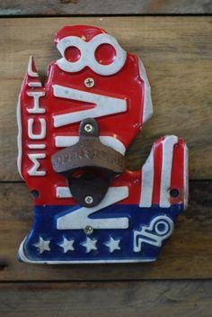 Michigan Bicentennial License Plate Bottle Opener