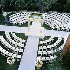 """Two aisles come in from opposite directions so that brides can still experience the """"first look"""" moment."""