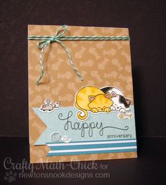 Cat Anniversary card by Crafty Math-Chick | Newton's Antics stamp set & Die set by Newton's Nook Designs #cat #stamps #newtonsnook