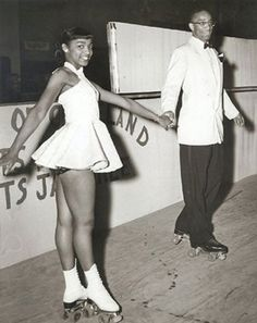 love2sepia:  Beverly Ewing and Bill Howland at the Pla-mor Roller Skating rink in Cleveland, OH, 1947. They look so dapper for roller skating! Competition maybe?