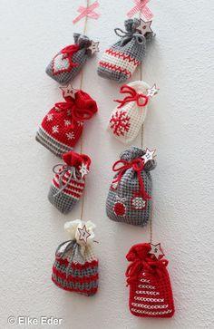 Crochet small advent calendar bags, gift bags or Santa bags yourself – crochet pattern via Makerist.de # crochet # crochet pattern # crochet with maker Crochet Christmas Decorations, Christmas Crochet Patterns, Easy Christmas Crafts, Christmas Knitting, Crochet Advent Calendar, Crochet Diy, How To Start Knitting, Gift Bags, Crochet Projects