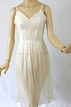 Vintage 50s Full Slip Seampurfe Sheer White Nylon Chiffon Crystal Pleat Skirt, $30