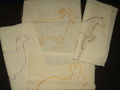 4 Vintage 1930 1940 Embroidery Barnyard Animal Muslin Quilt Blocks