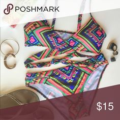 """Preorder for @todosyohijo Aztec wrap bikini Small Sexy tribal aztec print bikini Padded wrap top for enhanced physique Adjustable straps and tie back Removable padding inserts  Durable & comfortable material Stretchy for perfect fit New without tags ☀️✌️ Size S - tag says M, fits like a S About 5 & 1/2""""W X 5 & 1/2""""H bust coverage  (each side) About 12 & 1/2"""" across waist (laying flat) About 8 & 1/2"""" rise  ☀️No Trades Swim Bikinis"""