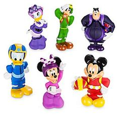 Mickey and the Roadster Racers Squeeze Toy Set | Disney Store Squeeze into the playtime driver's seat with these six soft-sculptured figures inspired by the Disney Junior series <i>Mickey and the Roadster Racers</i>, including Mickey, Minnie, Donald, Daisy, Goofy, and Pete.