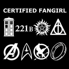 Doctor Who, Sherlock, Supernatural, Harry Potter, Avengers, Star Trek, Hunger Games (NOT in this fandom,) Lord of the Rings.
