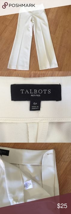 """Talbots high-waisted off-white trousers Talbots high-waisted off-white trousers. Incorporate the classic fit of a tailored pant into your wardrobe for the ultimate style go-to. Simple, clean lines will forever remain timeless. Invisible side-zip entry, no pockets, blind hem, inseam 28"""", 48% polyester, 47% viscose, 5% spandex. Worn only a few times, unfortunately they don't fit me anymore. Ready for a new home! Talbots Pants Trousers"""