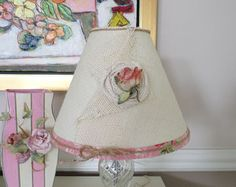 Shabby Chic or Cottage Chic Style Burlap Lamp Shade