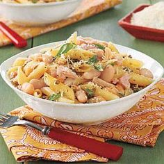 Penne with Tuna, Capers and Beans Recipe | MyRecipes.com