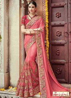 Wedding - Online saree shopping India at ​sarees palace. cho​ose from a huge collecti​on of designer, ethnic, ca​sual sari, buy sarees online India for all occasions. Indian Bridal Sarees, Indian Wedding Wear, Saree Wedding, Bollywood Wedding, Indian Weddings, Indian Wear, Indian Anarkali, Crepe Silk Sarees, Art Silk Sarees