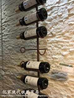 Wine Chiller European American solid wood wine cabinet display hanging wall hanging wine modern wall wine rack spot can be customized specials Wall Hanging Wine Rack, Wine Wall, Wall Wine Holder, Wine Rack Design, Wine Cellar Design, Drink Bar, Home Wine Cellars, Wine Display, Wine Stains