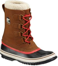 BROWN/RED Sorel boots
