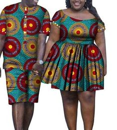 african clothing styles 2 Piece African Dashiki Print Couple Clothing Mens Suit Plus Womens Dress Short African Dresses, African Fashion Designers, Latest African Fashion Dresses, African Print Dresses, African Print Fashion, Dress Fashion, Couples African Outfits, African Attire, African Dashiki