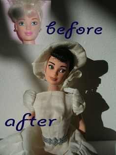 beeing a big audrey hepburn fan i made my second ooak audrey.  this time, i wanted to make a young audrey, like she was in sabrina or roman holliday.  as base doll i used an old mackie faced, blond ballerina doll. her hair is dyed with acrylic paint  #Funny #Faces
