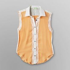 Dream Out Loud by Selena Gomez Juniors Sleeveless Lace Inset Shirt - Clothing - Juniors - Tops