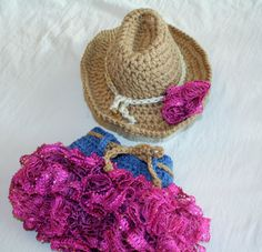 Baby Cowgirl Hat and Ruffled Skirt  - Baby Hat - Cowboy Baby Set  -Baby Girl Set -  Western Set  Photo Prop - by JoJo's Bootique