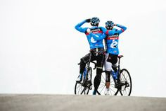 Garmin-Sharp's Alex Rasmussen and Dan Martin stop to enjoy the view atop the Passo Giau. Photo: © Jered Gruber