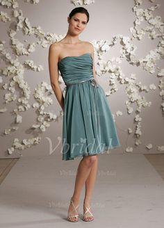 A-Linie/Princess-Linie Herzausschnitt Knielang Chiffon Charmeuse Brautjungfernkleid mit Rüschen Schleifenbänder/Stoffgürtel (00705005161)