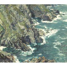 """Bosigran,"" Walter Elmer Schofield, oil on canvas, 26.3 x 30.2"", private collection."