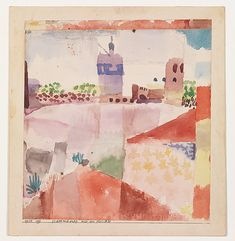 """Klee's artistic training, which began in 1898, when he went to Munich for three years to learn to draw and paint, can be said to have lasted until 1914, when he visited Tunisia. The light of North Africa aroused in him a sense of color, and there Klee made his now-famous statement: """"Color and I are one"""
