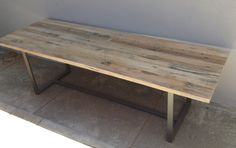 This simple, clean lined top sits on top of a thin leg base. It's beautiful rustic modern farmhouse style table top is made from all reclaimed oak and the base is painted steel. 5ft x 32 - $1450 6ft x 32 - $1600 7ft x 32 - $1750 8ft x 32 - $1900 Add width?- Every 6  $200 Coffee Tables Starting at $600 ORDER MULTIPLE PIECES AND RECEIVE A DISCOUNT ! Maybe a matching bench? A Buffet cabinet? Contact us for details! This unique table can be used on the interior or exterior depending on the…